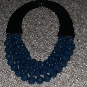 Blue beaded statement necklace with faux leather